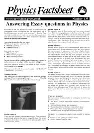 Answering Essay Questions In Physics Curriculum Press