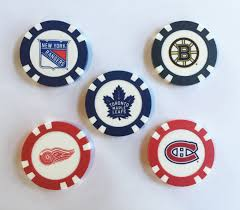 ball markers. nhl golf gift; poker chip ball markers s