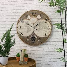 details about large atlas pendulum wall clock shabby vintage chic retro home man s gift