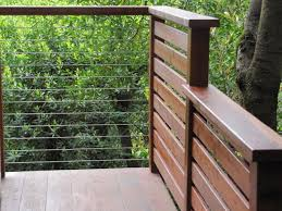 exterior wood railing. cable rail wood post and contemporary exterior railing