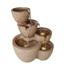 garden fountains home depot. Contemporary Fountains Fountain Cellar Multi Pots Sandstone Outdoorindoor Water With LED  Lights Inside Garden Fountains Home Depot N