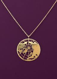 gold globe necklace the world pendant