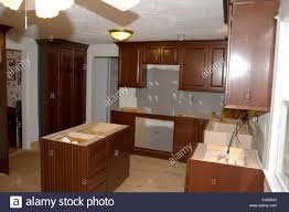 Trim Under Cabinets 1960s Style American Home Kitchen During Remodeling New Cherry