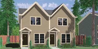 Duplex house plans, small duplex house plans, narrow duplex house plans,  affordable duplex floor plans, D-341
