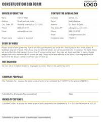 Construction Bid Form 12 Best Proposal Images Construction Bids Construction Business