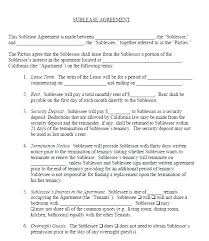 Apartment Sublease Template Sublet Agreement Template Free Commercial Sublease Agreement Free