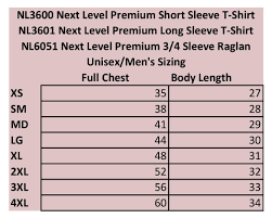 Next Level 6051 Size Chart Next Level Baseball Tee Size Chart Coolmine Community School
