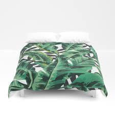 tropical glam banana leaf print duvet cover by boltsandglitter society6