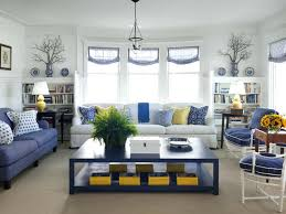 blue and yellow living room turn of the century cottage beach style living room cobalt blue