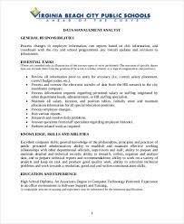 Data Analyst Job Duties Management Analyst Job Description Sample 9 Examples In