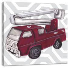 vintage fire truck wall art