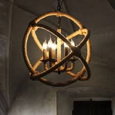 big rope orb 6 candle bases chandelier light industrial sphere pendant lamp