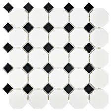 black and white tile floor. SomerTile FXLM2OWD Retro Octagon Porcelain Floor And Wall Tile, 11.5\ Black White Tile 1