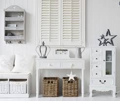 decorating with white furniture. Modren White White Ahll Decor With Storage Bench Console Table And White Cabinet  Finished Grey And Decorating With Furniture