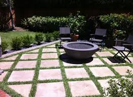 square paver patio with fire pit. Outdoor Fire Pit With Concrete/Grass Pavers Modern Patio Orange Square Paver