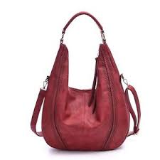Large Hobo Handbags Leather Women Bag Piel Coach Vintage Slouchy Purse Wine