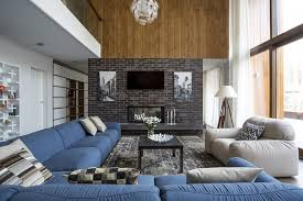 modern living room with brick fireplace. Here Is Another Example Of A Little Brick Making Big Impact. Supporting Fireplace Modern Living Room With P