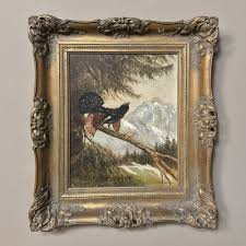 antique oil painting on board of bird