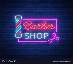 Neon Sign Logo Design Barber Shop Logo Neon Sign Logo Design Elements