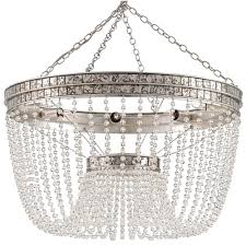 garbo hollywood regency antique silver leaf crystal bead chandelier kathy kuo home