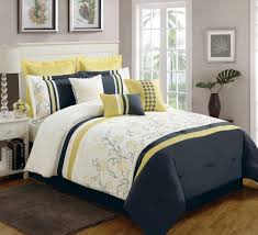 simple bedroom design with cal king nia bedding sets dark blue yellow comforter sets