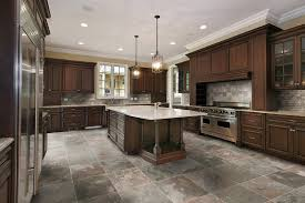 Kitchen Marble Floor Minimalist Modern Kitchen Decorating Ideas Showing Brown Marble
