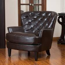 leather living room chairs. Modren Chairs Tafton Tufted Oversized Brown Bonded Leather Club Chair By Christopher  Knight Home Throughout Living Room Chairs Overstockcom