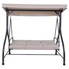 costway converting outdoor swing canopy hammock 3 seats patio deck furniture beige 2