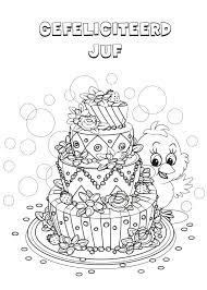 Kleurennu Verjaardagstaart Juf Kleurplaten With Regard To