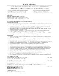 Early Childhood Resume Objective Elementary Teacher Samples Sample