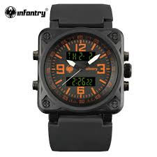 online get cheap mens square face watches aliexpress com infantry mens quartz watch square face digital military watches orange male clock fashion luxury watch
