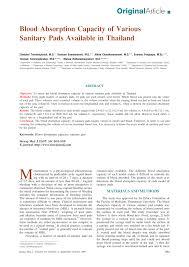 Pdf Blood Absorption Capacity Of Various Sanitary Pads