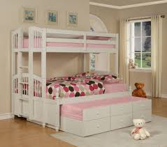 bedroom design for teenagers with bunk beds. Bedroom:Beautiful Girls Bedroom Design With White Space Saving Bunk Bed And Polkadot Sheet For Teenagers Beds
