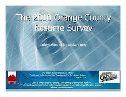 2010 Orange County Resume Survey Results