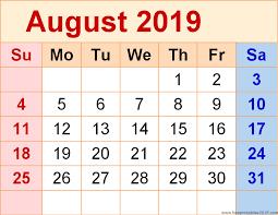 August Calandar Calendar August 2019 Free Printable Templates Free