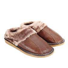 winter warm fuzzy cow leather house slippers for men fleece lined home shoes eu