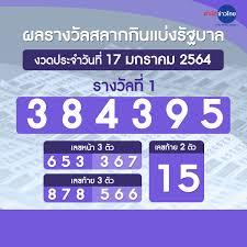ผลรางวัลสลากกินแบ่งรัฐบาล งวดวันที่ 17 มกราคม 2564 - สำนักข่าวไทย อสมท