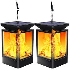 Landscape Lights That Look Like Flames Solar Lantern Lights Flickering Flame Outdoor Garden Lamp Solar Powered Waterproof Hanging Lanterns Dusk To Dawn Auto On Off Landscape Lighting For