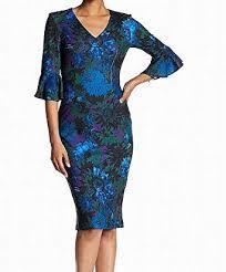Alton Gray Size Chart Alton Gray Womens Ruffle Floral V Neck Sheath Dress Blue 12