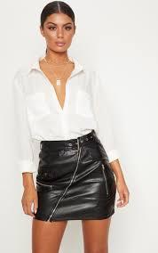 black faux leather biker belted mini skirt image 1
