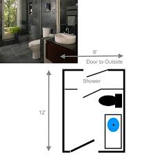 shower with door leading to the outside small bathroom layout separate entrance