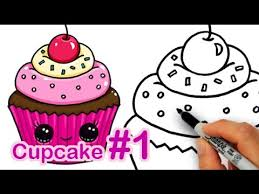 cute cupcake drawing.  Drawing How To Draw A CUTE Cupcake 1 Step By Easy Sweet Dessert Inside Cute Drawing I