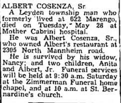 Obituary for ALBERT COSENZA - Newspapers.com