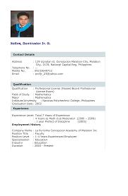 Resume Letter Philippines Sample Resume Undergraduate Student