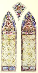 stained glass panes drawing window right pane of three part design panels for