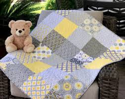 Baby Quilts Handmade Patchwork Quilt Red White Blue & Yellow and gray baby Quilt, baby bedding, Crib quilts, grey and yellow baby Adamdwight.com