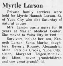 Obituary for Myrtle Hannah Larson (Aged 83) - Newspapers.com