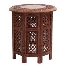 hand carved accent table 24 inch