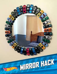 diy hot wheels display case mirror from