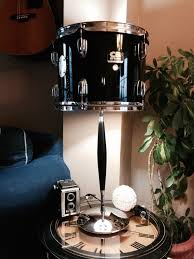 view in gallery repurposed drum table lamp with chrome and black base